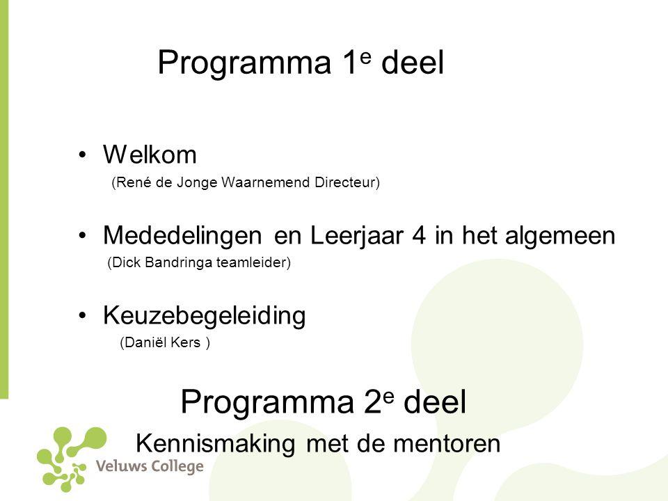 Programma 1 e deel Welkom (René de Jonge Waarnemend Directeur) Mededelingen en Leerjaar 4 in het algemeen (Dick Bandringa teamleider) Keuzebegeleiding
