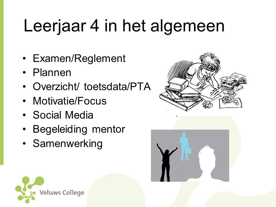 Leerjaar 4 in het algemeen Examen/Reglement Plannen Overzicht/ toetsdata/PTA Motivatie/Focus Social Media Begeleiding mentor Samenwerking