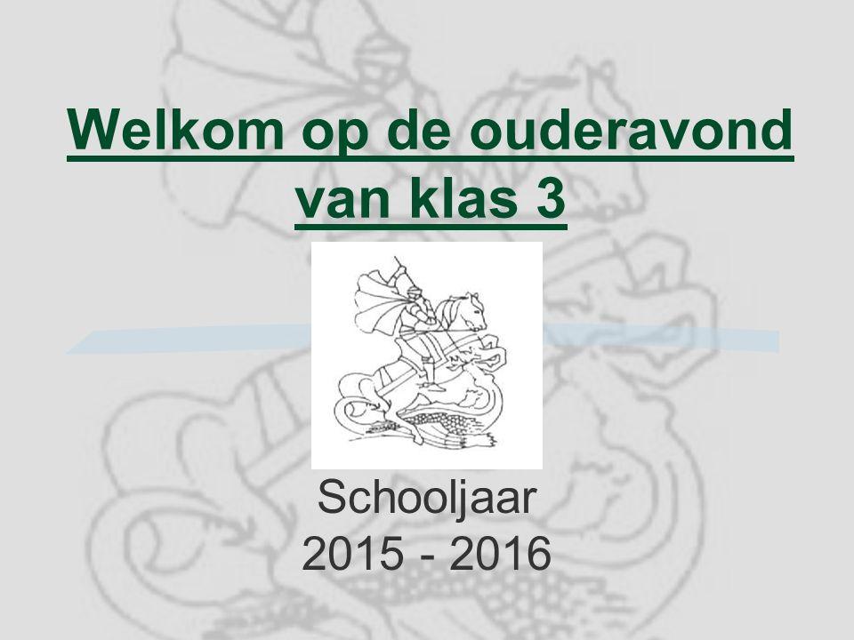 Welkom op de ouderavond van klas 3 Schooljaar 2015 - 2016