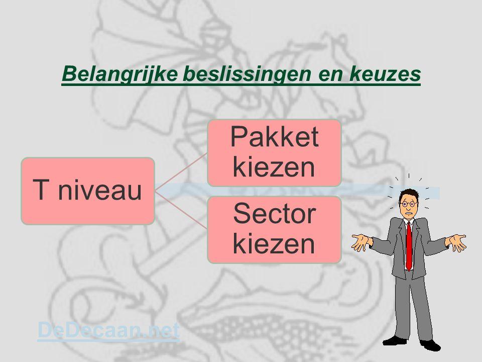 Belangrijke beslissingen en keuzes T niveau Pakket kiezen Sector kiezen DeDecaan.net
