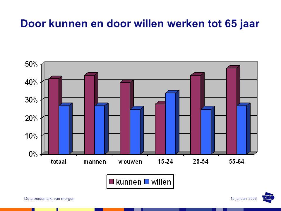15 januari 2008De arbeidsmarkt van morgen Door kunnen en door willen werken tot 65 jaar