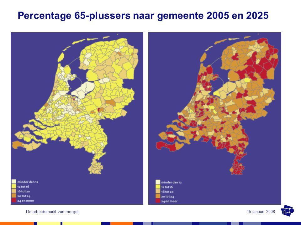 15 januari 2008De arbeidsmarkt van morgen Percentage 0-19 jarigen naar gemeente 2005 en 2025
