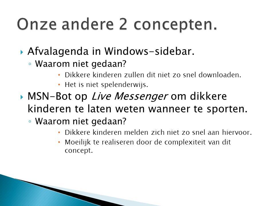  Afvalagenda in Windows-sidebar. ◦ Waarom niet gedaan.