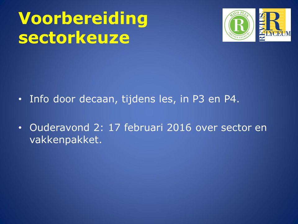 Voorbereiding sectorkeuze Info door decaan, tijdens les, in P3 en P4. Ouderavond 2: 17 februari 2016 over sector en vakkenpakket.