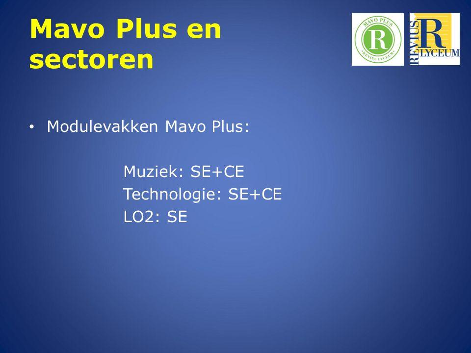 Mavo Plus en sectoren Modulevakken Mavo Plus: Muziek: SE+CE Technologie: SE+CE LO2: SE