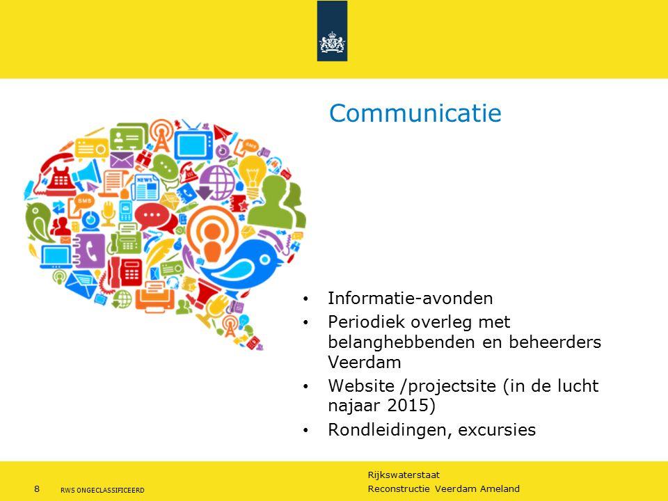 Rijkswaterstaat 8Reconstructie Veerdam Ameland RWS ONGECLASSIFICEERD Communicatie Informatie-avonden Periodiek overleg met belanghebbenden en beheerde