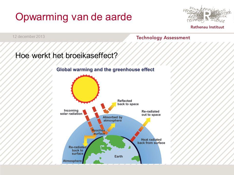 12 december 2013 Rathenau Instituut SRM is geen oplossing voor klimaatprobleem: moratorium - te weinig inzicht in risico's en gevolgen - risico's niet doorschuiven naar arme landen - vooralsnog geen internationale coördinatie  wel onderzoek CDR kan bijdrage leveren een managen klimaatprobleem  stimuleren onderzoek  opnemen in klimaatverdrag