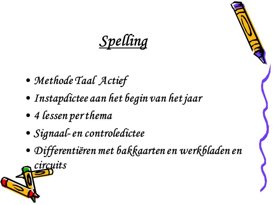 Spelling Methode Taal Actief Instapdictee aan het begin van het jaar 4 lessen per thema Signaal- en controledictee Differentiëren met bakkaarten en werkbladen en circuits