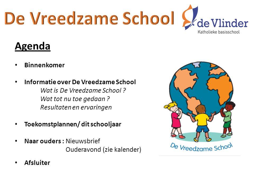 Agenda Binnenkomer Informatie over De Vreedzame School Wat is De Vreedzame School ? Wat tot nu toe gedaan ? Resultaten en ervaringen Toekomstplannen/