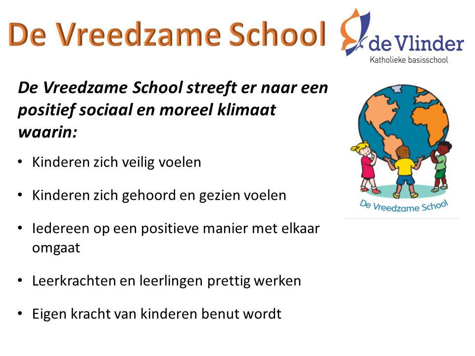 De Vreedzame School streeft er naar een positief sociaal en moreel klimaat waarin: Kinderen zich veilig voelen Kinderen zich gehoord en gezien voelen Iedereen op een positieve manier met elkaar omgaat Leerkrachten en leerlingen prettig werken Eigen kracht van kinderen benut wordt