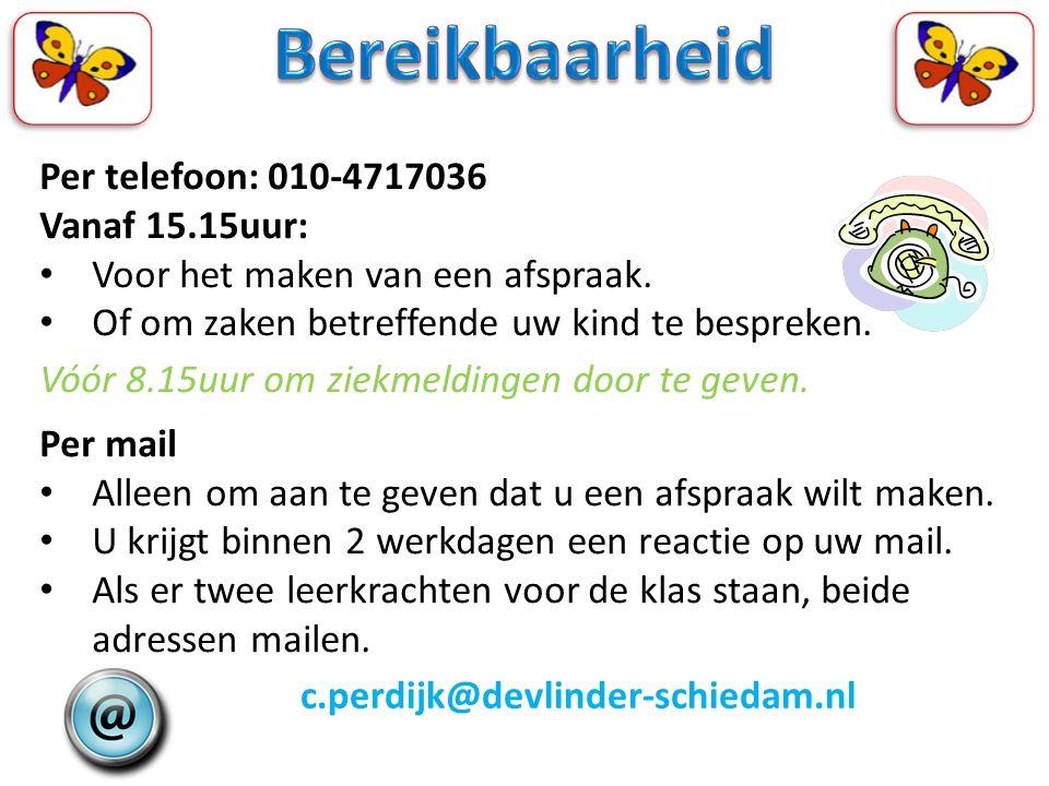 Per telefoon: 010-4717036 Vanaf 15.15uur: Voor het maken van een afspraak. Of om zaken betreffende uw kind te bespreken. Vóór 8.15uur om ziekmeldingen