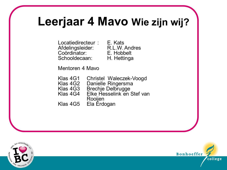 Leerjaar 4 Mavo Wie zijn wij. Locatiedirecteur : E.