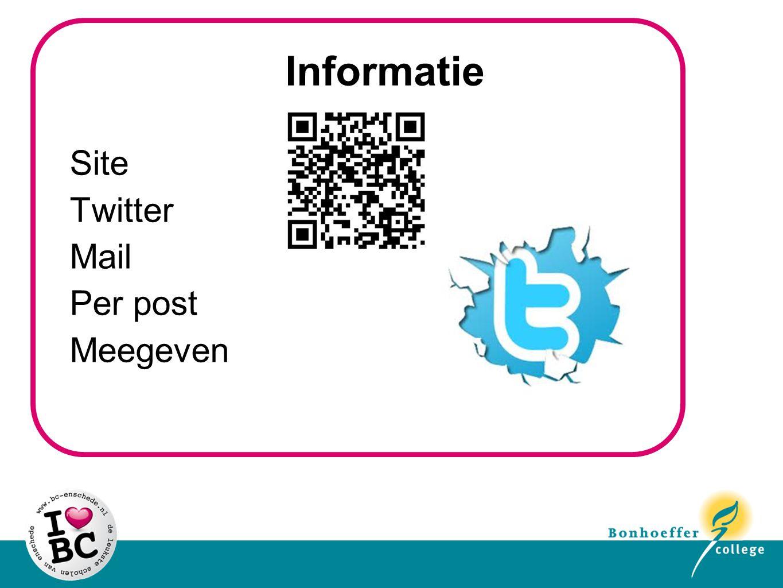 Informatie Site Twitter Mail Per post Meegeven