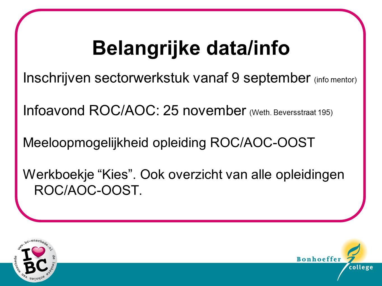 Belangrijke data/info Inschrijven sectorwerkstuk vanaf 9 september (info mentor) Infoavond ROC/AOC: 25 november (Weth. Beversstraat 195) Meeloopmogeli