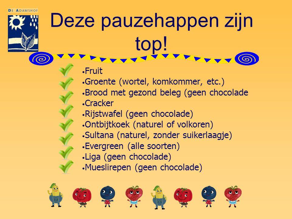 Deze pauzehappen zijn top! Fruit Groente (wortel, komkommer, etc.) Brood met gezond beleg (geen chocolade Cracker Rijstwafel (geen chocolade) Ontbijtk