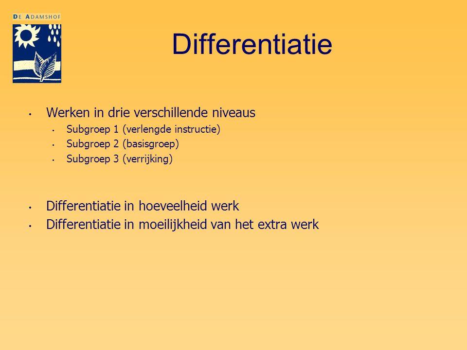 Differentiatie Werken in drie verschillende niveaus Subgroep 1 (verlengde instructie) Subgroep 2 (basisgroep) Subgroep 3 (verrijking) Differentiatie i