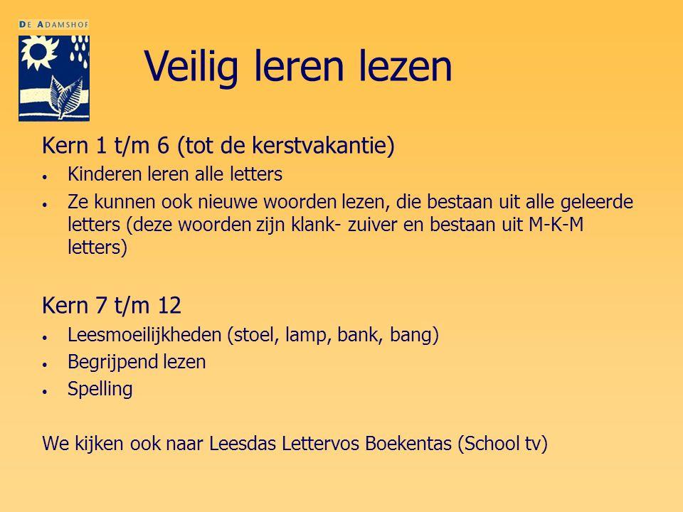 Kern 1 t/m 6 (tot de kerstvakantie) Kinderen leren alle letters Ze kunnen ook nieuwe woorden lezen, die bestaan uit alle geleerde letters (deze woorde