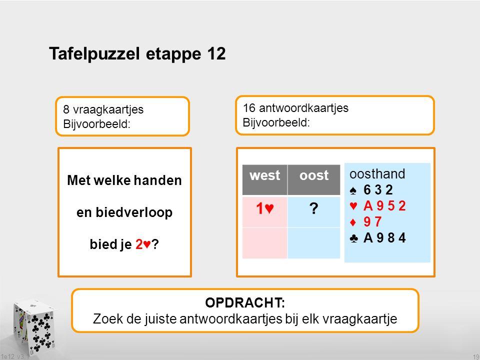 1e12 v3.1 19 Tafelpuzzel etappe 12 OPDRACHT: Zoek de juiste antwoordkaartjes bij elk vraagkaartje 8 vraagkaartjes Bijvoorbeeld: 16 antwoordkaartjes Bijvoorbeeld: Met welke handen en biedverloop bied je 2♥.