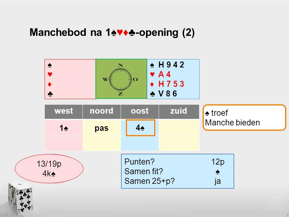 1e12 v3.1 6 Manchebod na 1♠♥♦♣-opening (2) ♠♥♦♣♠♥♦♣ ♠H 9 4 2 ♥A 4 ♦H 7 5 3 ♣V 8 6 westnoordoostzuid 1♠1♠pas Wat heeft partner.