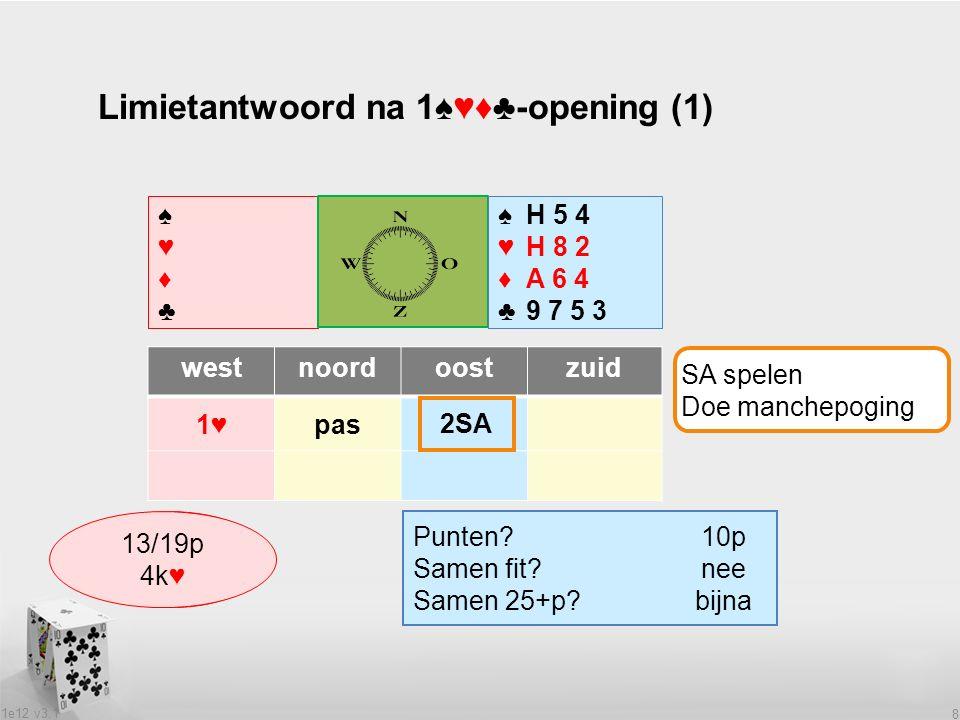 1e12 v3.1 8 Limietantwoord na 1♠♥♦♣-opening (1) ♠♥♦♣♠♥♦♣ ♠H 5 4 ♥H 8 2 ♦A 6 4 ♣9 7 5 3 westnoordoostzuid 1♥pas Wat heeft partner.