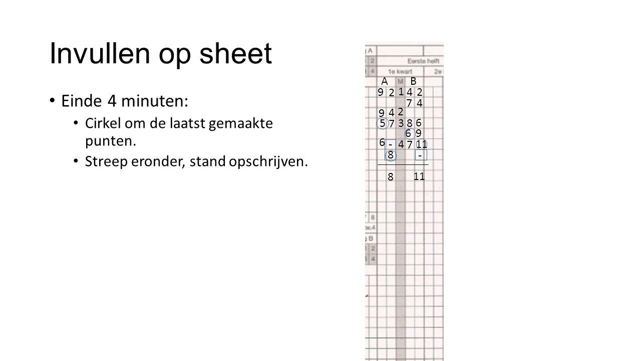 Invullen op sheet AB Einde 4 minuten: Cirkel om de laatst gemaakte punten. Streep eronder, stand opschrijven. 9 2 1 4 2 8 4 2 9 4 3 7 5 7 9 6 6 4 6 -
