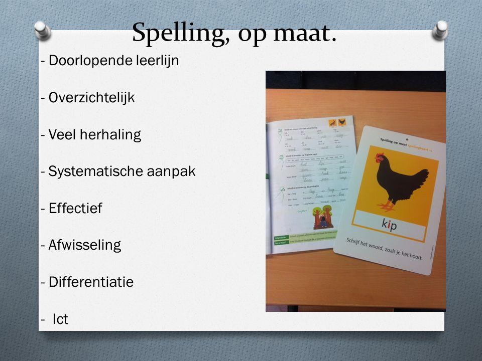 Spelling, op maat. - Doorlopende leerlijn - Overzichtelijk - Veel herhaling - Systematische aanpak - Effectief - Afwisseling - Differentiatie - Ict