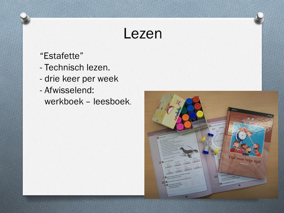 """Lezen """"Estafette"""" - Technisch lezen. - drie keer per week - Afwisselend: werkboek – leesboek."""