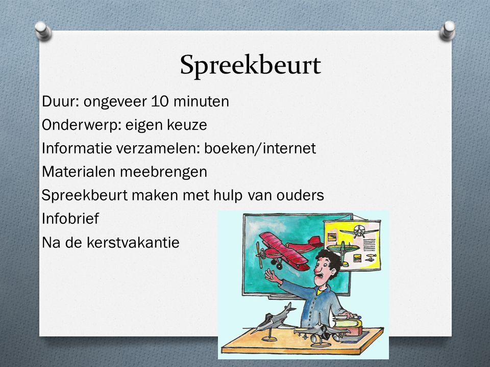 Spreekbeurt Duur: ongeveer 10 minuten Onderwerp: eigen keuze Informatie verzamelen: boeken/internet Materialen meebrengen Spreekbeurt maken met hulp v