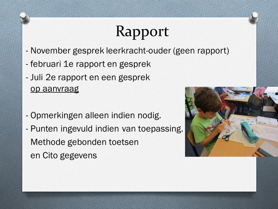 Rapport - November gesprek leerkracht-ouder (geen rapport) - februari 1e rapport en gesprek - Juli 2e rapport en een gesprek op aanvraag - Opmerkingen