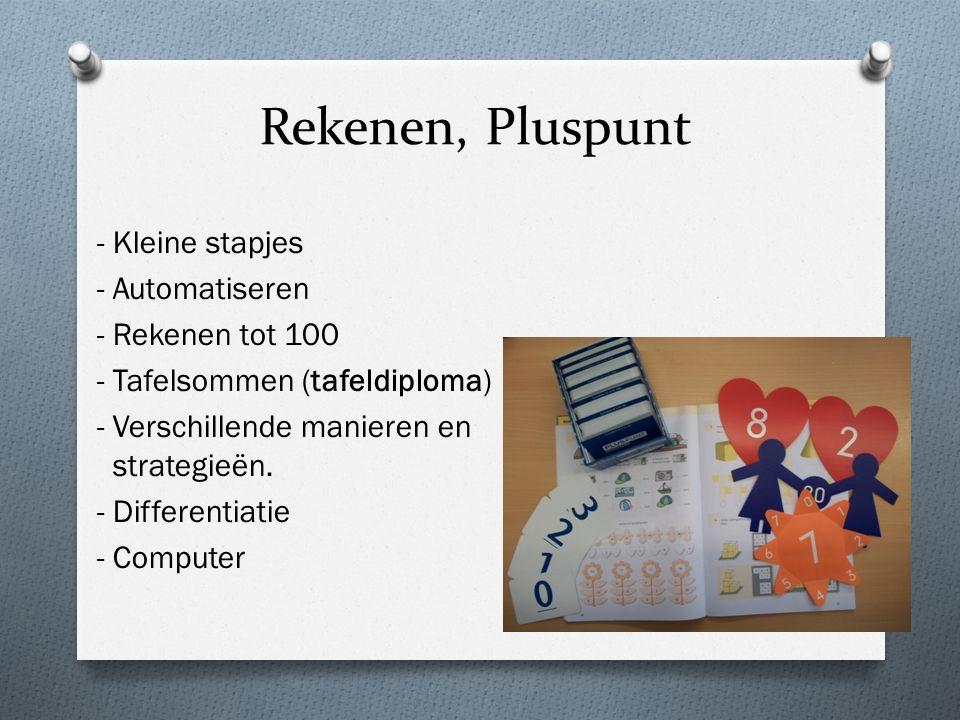 Rekenen, Pluspunt - Kleine stapjes - Automatiseren - Rekenen tot 100 - Tafelsommen (tafeldiploma) - Verschillende manieren en strategieën. - Different
