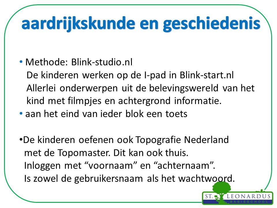 Methode: Blink-studio.nl De kinderen werken op de I-pad in Blink-start.nl Allerlei onderwerpen uit de belevingswereld van het kind met filmpjes en achtergrond informatie.