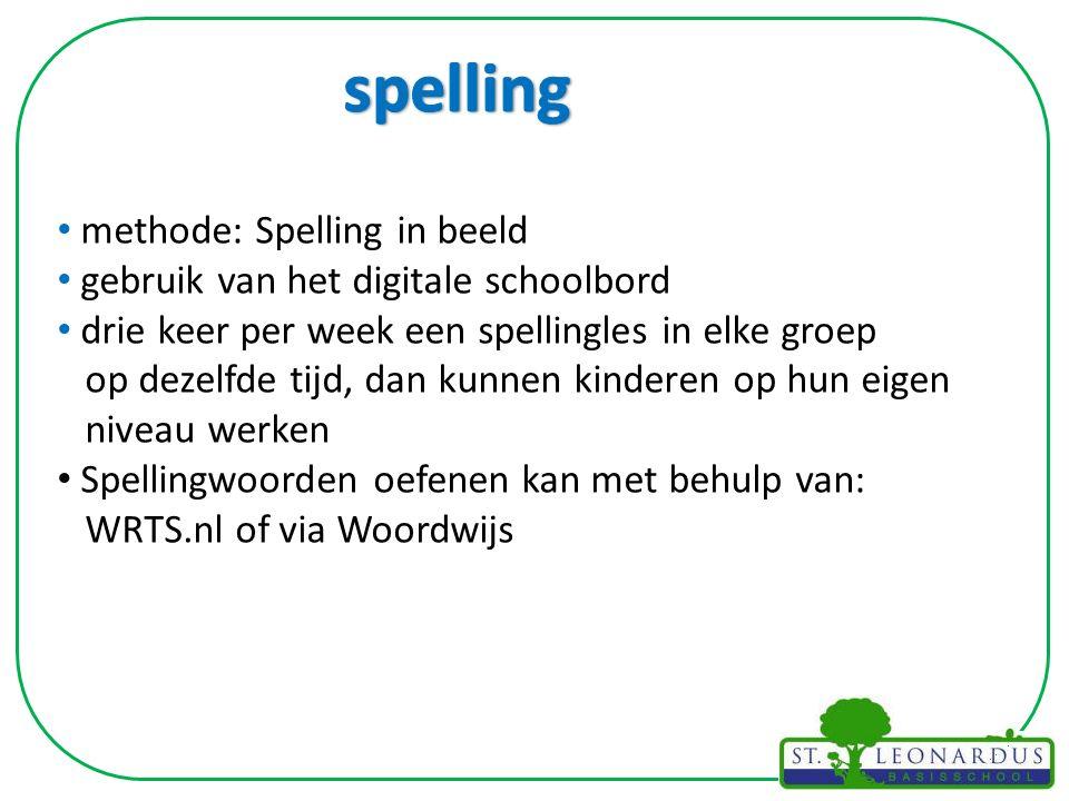 methode: Spelling in beeld gebruik van het digitale schoolbord drie keer per week een spellingles in elke groep op dezelfde tijd, dan kunnen kinderen op hun eigen niveau werken Spellingwoorden oefenen kan met behulp van: WRTS.nl of via Woordwijs