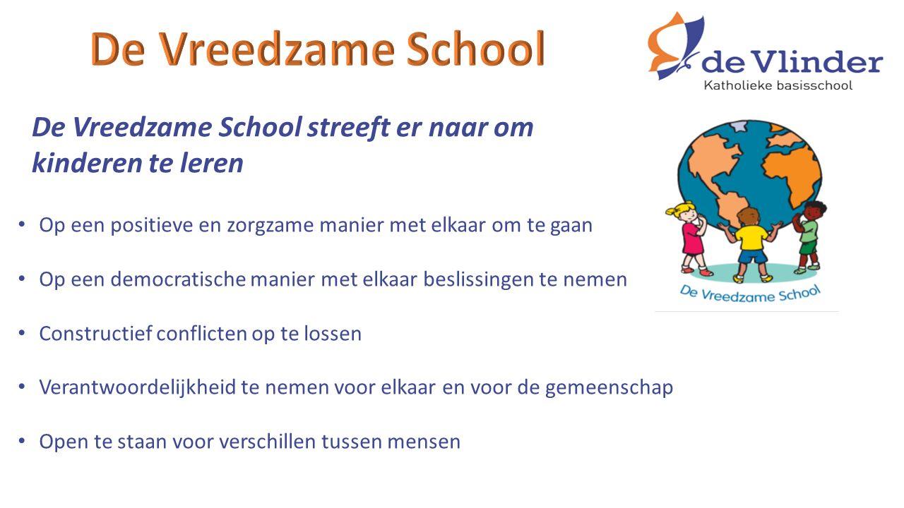 De Vreedzame School streeft er naar om kinderen te leren Op een positieve en zorgzame manier met elkaar om te gaan Op een democratische manier met elkaar beslissingen te nemen Constructief conflicten op te lossen Verantwoordelijkheid te nemen voor elkaar en voor de gemeenschap Open te staan voor verschillen tussen mensen