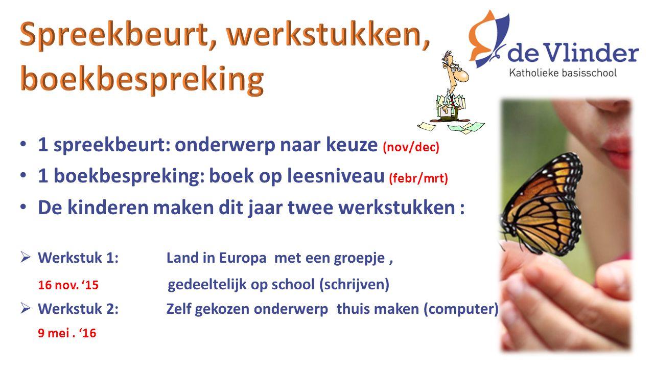 1 spreekbeurt: onderwerp naar keuze (nov/dec) 1 boekbespreking: boek op leesniveau (febr/mrt) De kinderen maken dit jaar twee werkstukken :  Werkstuk 1:Land in Europa met een groepje, 16 nov.