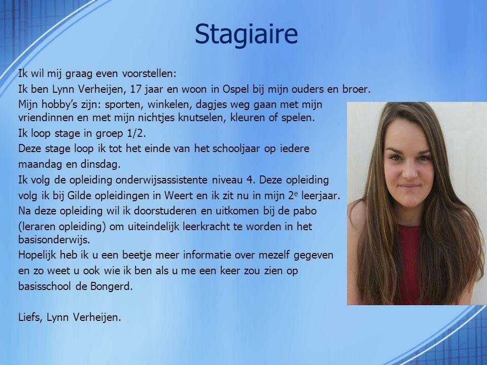 Ik wil mij graag even voorstellen: Ik ben Lynn Verheijen, 17 jaar en woon in Ospel bij mijn ouders en broer. Mijn hobby's zijn: sporten, winkelen, dag