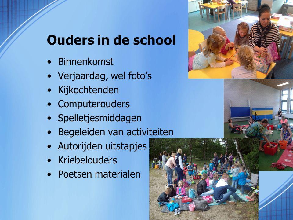 Ouders in de school Binnenkomst Verjaardag, wel foto's Kijkochtenden Computerouders Spelletjesmiddagen Begeleiden van activiteiten Autorijden uitstapj