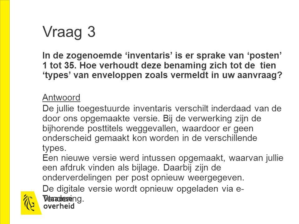 Vraag 3 In de zogenoemde 'inventaris' is er sprake van 'posten' 1 tot 35.