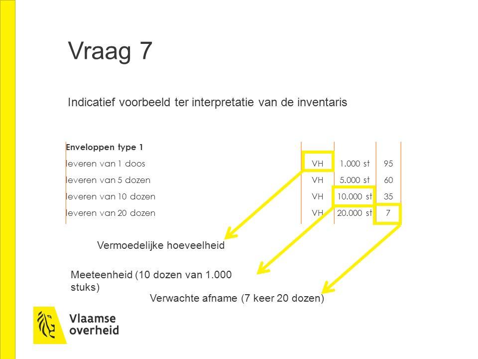 Vraag 7 Indicatief voorbeeld ter interpretatie van de inventaris Enveloppen type 1 leveren van 1 doos VH1.000 st95 leveren van 5 dozen VH5.000 st60 leveren van 10 dozen VH10.000 st35 leveren van 20 dozen VH20.000 st7 Vermoedelijke hoeveelheid Meeteenheid (10 dozen van 1.000 stuks) Verwachte afname (7 keer 20 dozen)