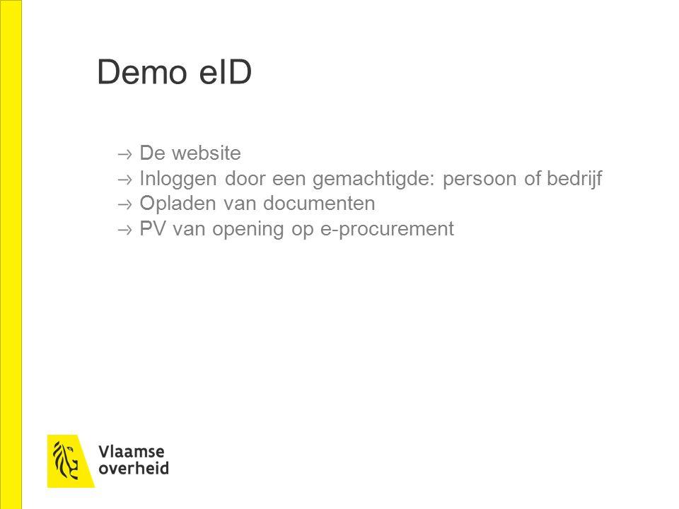 Demo eID De website Inloggen door een gemachtigde: persoon of bedrijf Opladen van documenten PV van opening op e-procurement
