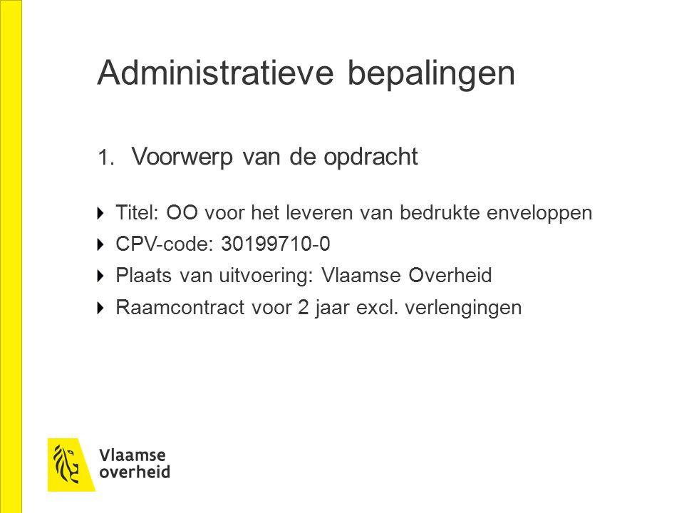 Administratieve bepalingen 1.
