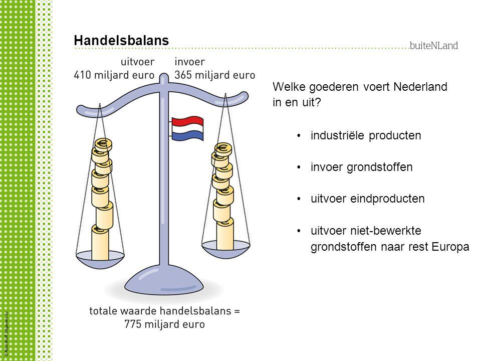 Handelsbalans industriële producten invoer grondstoffen uitvoer eindproducten uitvoer niet-bewerkte grondstoffen naar rest Europa Welke goederen voert Nederland in en uit?