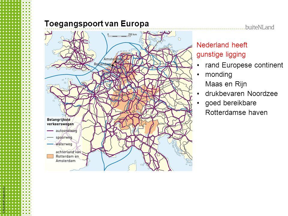 Toegangspoort van Europa rand Europese continent monding Maas en Rijn drukbevaren Noordzee goed bereikbare Rotterdamse haven Nederland heeft gunstige ligging