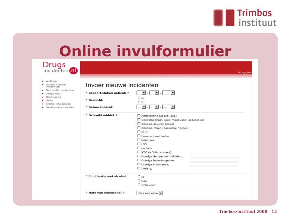 Online invulformulier Trimbos-instituut 2008 12