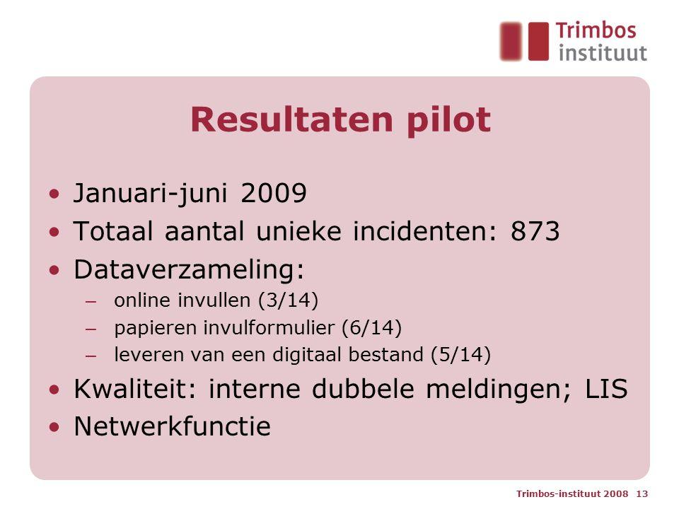 Resultaten pilot Januari-juni 2009 Totaal aantal unieke incidenten: 873 Dataverzameling: – online invullen (3/14) – papieren invulformulier (6/14) – leveren van een digitaal bestand (5/14) Kwaliteit: interne dubbele meldingen; LIS Netwerkfunctie Trimbos-instituut 2008 13