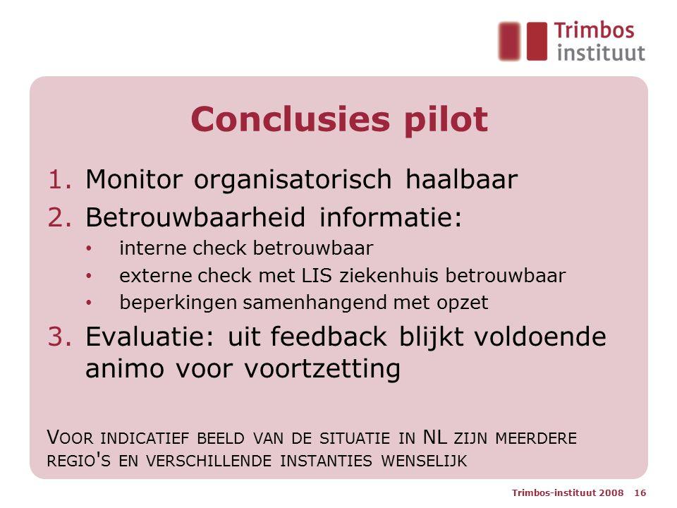 Conclusies pilot 1.Monitor organisatorisch haalbaar 2.Betrouwbaarheid informatie: interne check betrouwbaar externe check met LIS ziekenhuis betrouwba