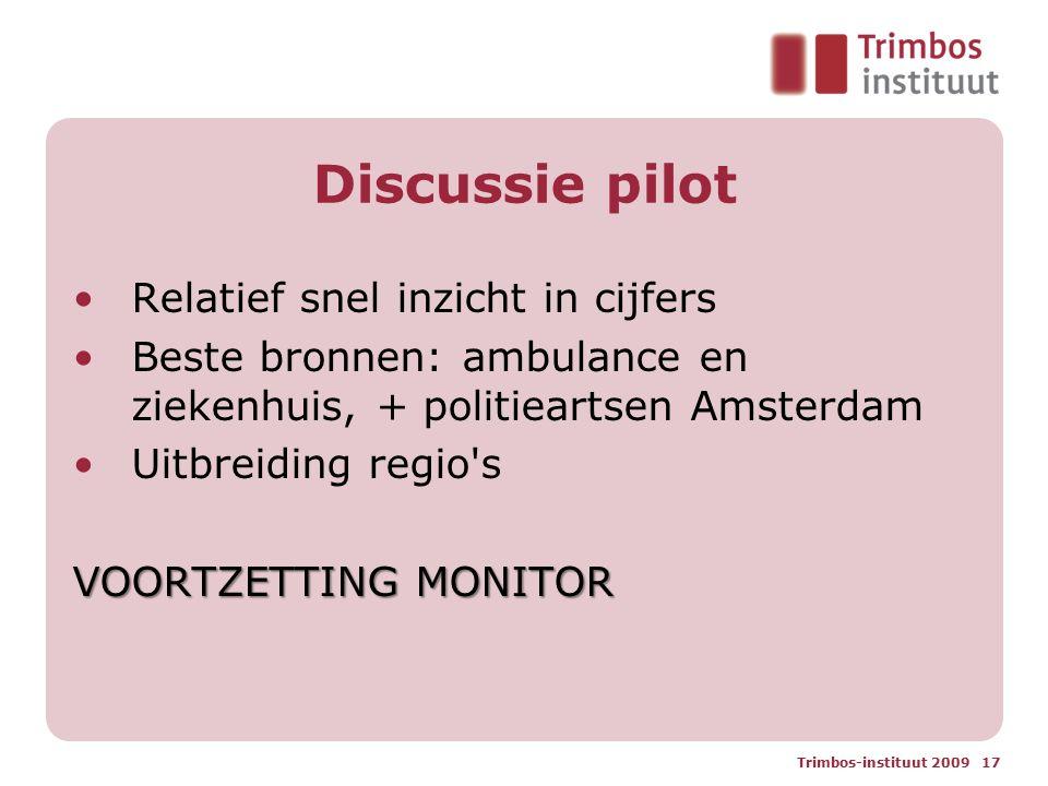 Discussie pilot Relatief snel inzicht in cijfers Beste bronnen: ambulance en ziekenhuis, + politieartsen Amsterdam Uitbreiding regio s VOORTZETTING MONITOR Trimbos-instituut 2009 17
