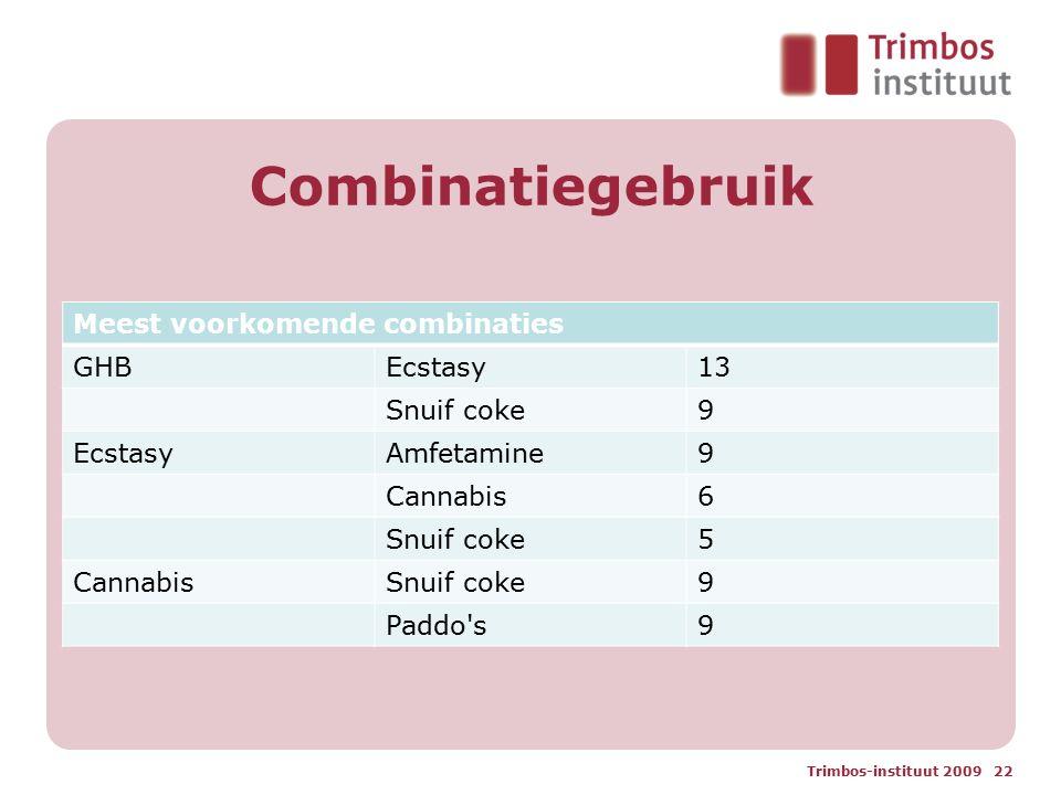 Combinatiegebruik Trimbos-instituut 2009 22 Meest voorkomende combinaties GHBEcstasy13 Snuif coke9 EcstasyAmfetamine9 Cannabis6 Snuif coke5 CannabisSnuif coke9 Paddo s9