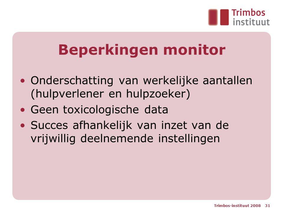 Trimbos-instituut 2008 31 Beperkingen monitor Onderschatting van werkelijke aantallen (hulpverlener en hulpzoeker) Geen toxicologische data Succes afhankelijk van inzet van de vrijwillig deelnemende instellingen