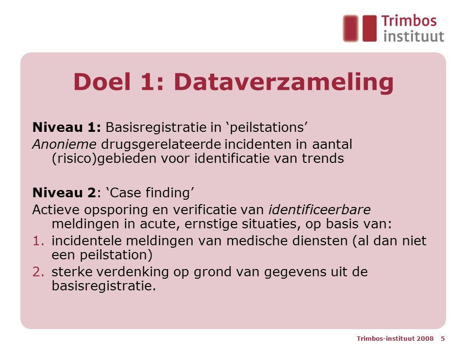 Trimbos-instituut 2008 5 Doel 1: Dataverzameling Niveau 1: Basisregistratie in 'peilstations' Anonieme drugsgerelateerde incidenten in aantal (risico)