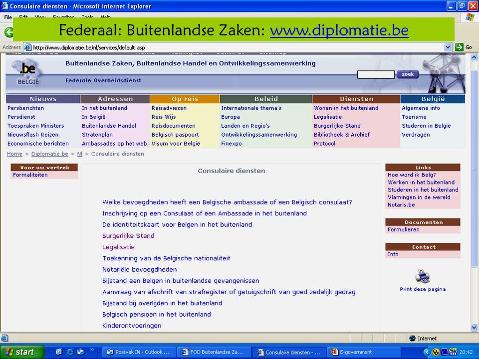 Deze presentatie mag noch geheel, noch gedeeltelijk worden gebruikt of gekopieerd zonder de schriftelijke toestemming van Seniornet Vlaanderen VZW maart 2009 EID en e-government 12 Federaal: Buitenlandse Zaken: www.diplomatie.bewww.diplomatie.be